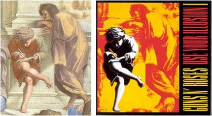 School of Athens (Raphael) juxtaposed with Use Your Illusion I (Guns N' Roses)